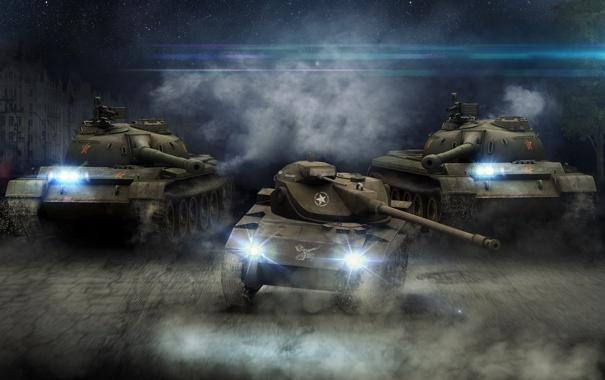 Фото обои China, дым, танк, USA, США, Америка, танки