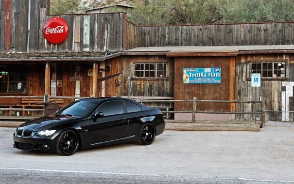 Фото обои дорога, черный, тюнинг, бмв, купе, BMW, салун