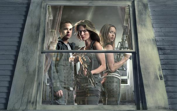 Фото обои терминатор, окно, актёры, сериал, Terminator, Summer Glau, Lena Headey