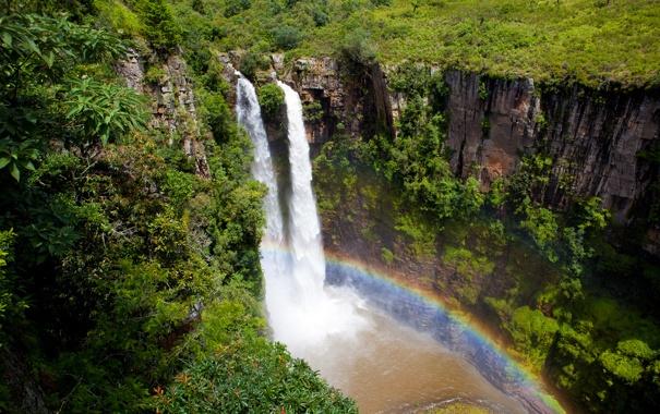 Фото обои водопад, радуга, африка