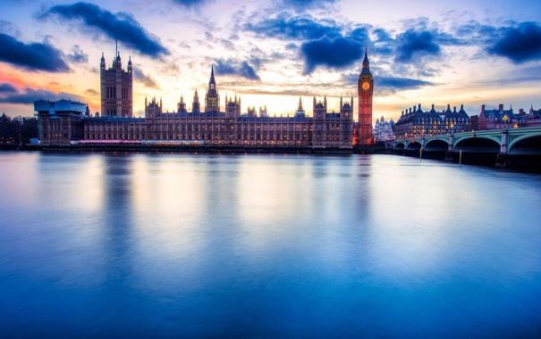 Фото обои город, река, Лондон, Big Ben, Parliament, Великобриания