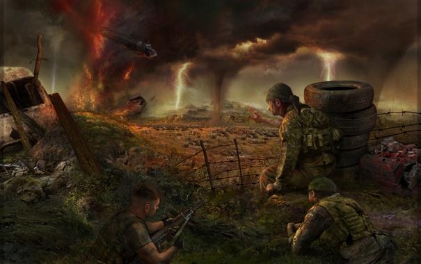 Фото обои тучи, смерч, солдаты, Stalker, зона, гром