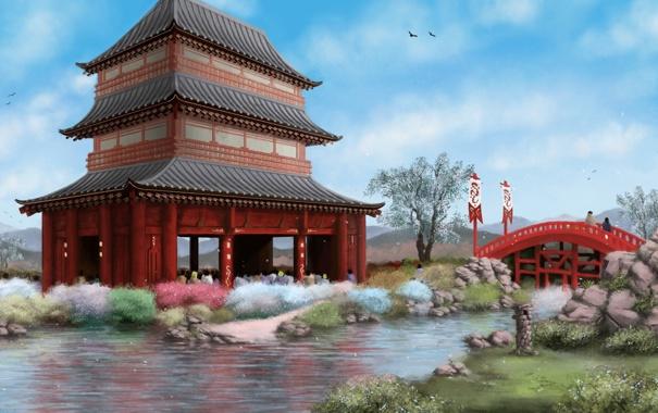 Фото обои мост, река, ручей, люди, азия, здание, арт