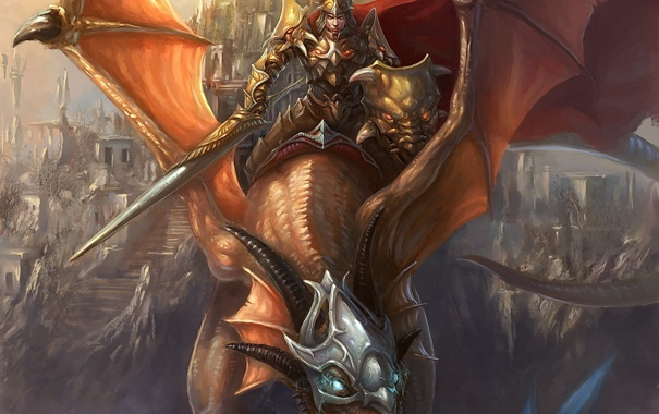 Фото обои магия, дракон, меч, воин, всадник