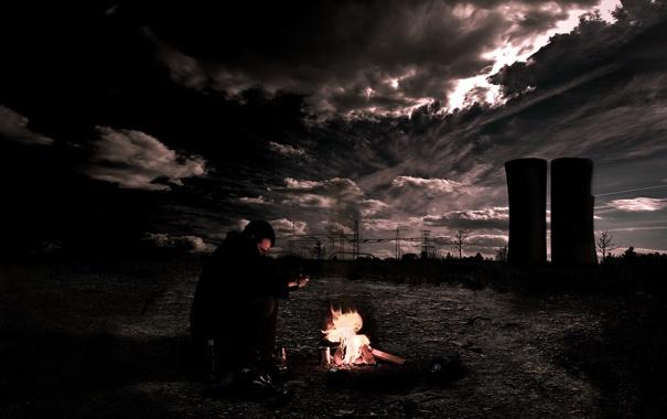 Фото обои ночь, человек, башни, постапокалипсис
