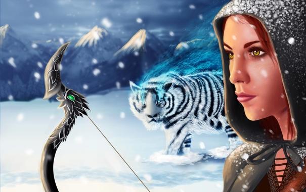 Фото обои холод, зима, девушка, снег, горы, лицо, оружие