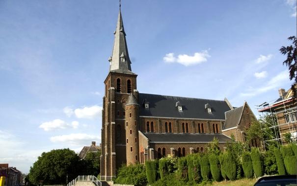 Фото обои башня, церковь, Бельгия, Protestants-Evangelische Kerk Landen