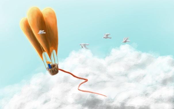 Фото обои шар, путишествие, небо, девочька, птицы