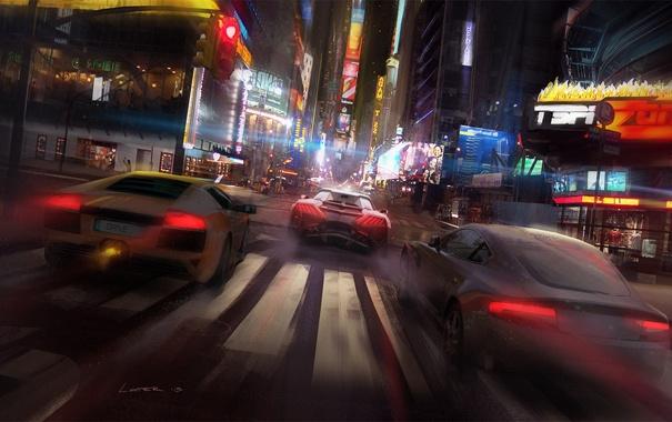 Фото обои машины, ночь, город, гонка, арт, drive