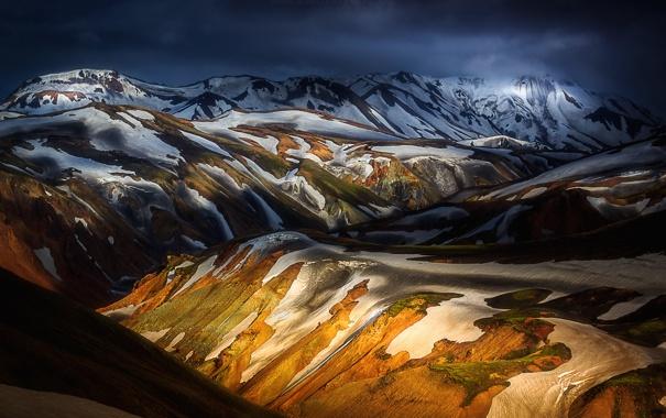 Фото обои свет, снег, горы, холмы, тени, Исландия