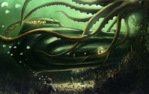 Фото обои водоросли, океан, лодка, дно, осьминог, водолазы, подводная