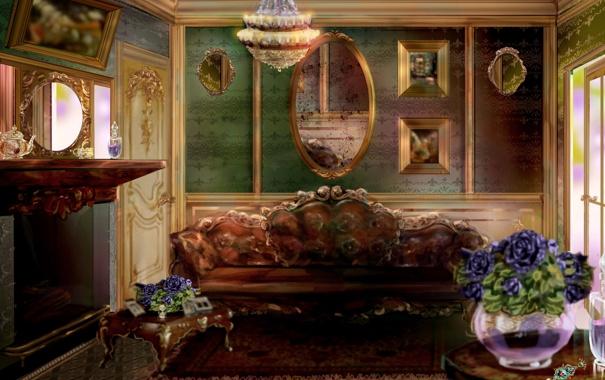 Фото обои картины, камин, зеркала, живопись, арт, диван, интерьер