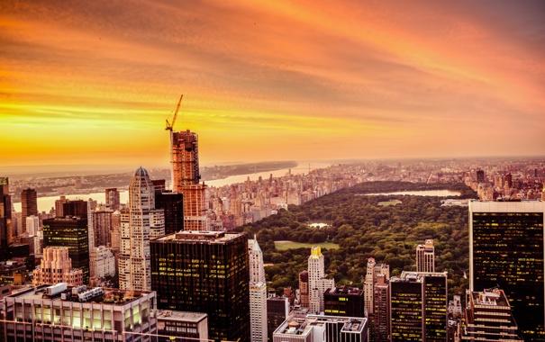 Фото обои небо, деревья, закат, Нью-Йорк, США, небоскрёбы, Центральный парк