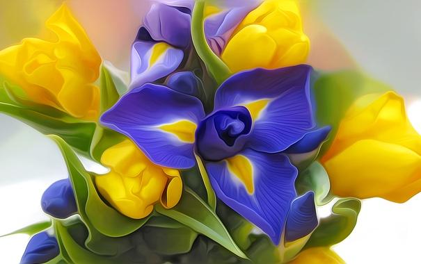 Фото обои листья, абстракция, рендеринг, рисунок, букет, лепестки