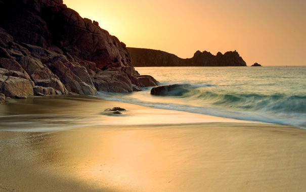 Фото обои море, пляж, золото