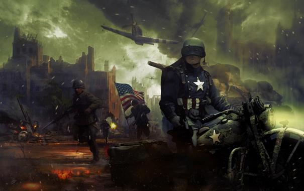 Фото обои город, война, мотоцикл, руины, captain america, Steve Rogers, Captain America: The First Avenger