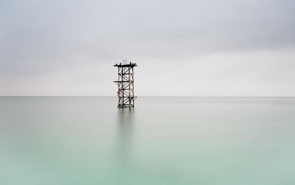 Фото обои море, птицы, башня, минимализм