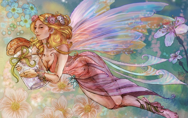 Фото обои взгляд, девушка, цветы, лицо, волосы, гриб, крылья