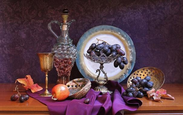 Фото обои вино, бокал, яблоко, тарелка, виноград, кувшин, натюрморт