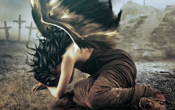 Фото обои платье, фантастика, девушка, волосы, черные, ангел, арт