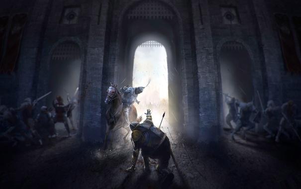 Фото обои замок, конь, арт, всадник, битва, сражение, рыцарь