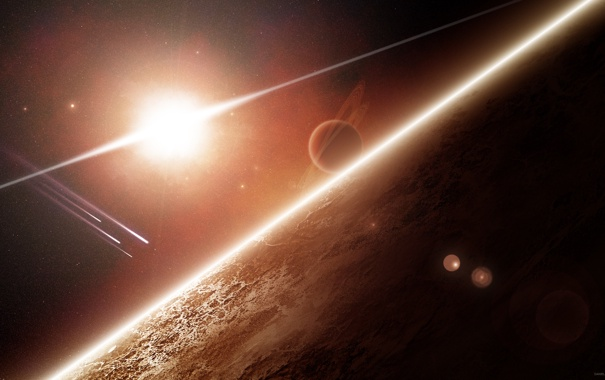 Фото обои космос, звезда, планеты, арт, space, art
