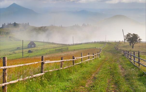 Фото обои природа, дом, холмы, ограда
