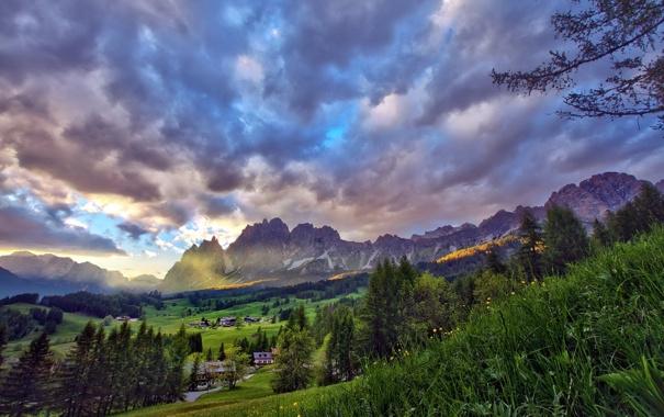 Фото обои небо, пейзаж, горы, HDR