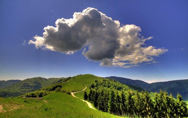 Фото обои пейзаж, небо, облака, лето, лес, дорога, природа