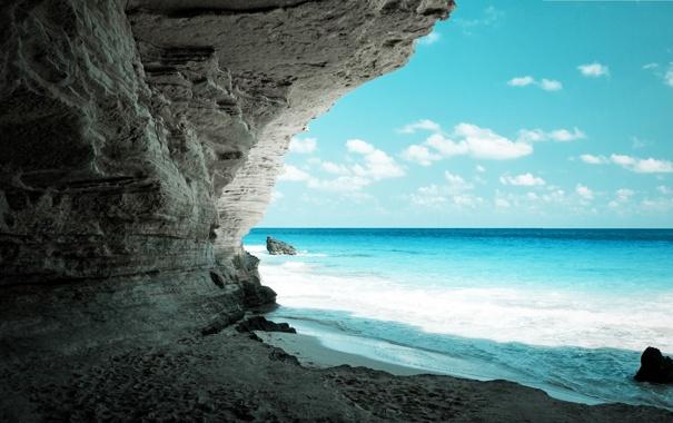 Фото обои water, stones, blue, Ocean, Cave