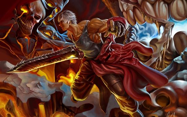 Фото обои череп, меч, арт, монстры, лава, битва, парень