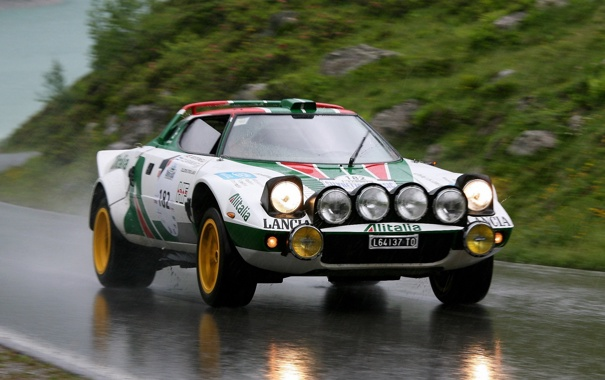 Фото обои дорога, дождь, Car, Lancia, Rally, Stratos, легенда автоспорта