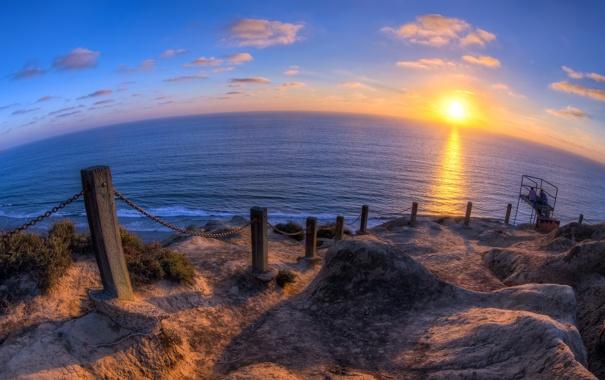 Фото обои море, пейзаж, закат, забор
