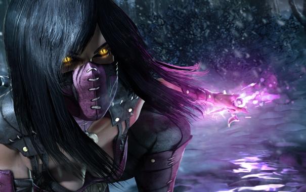 Фото обои sai, Mileena, Mortal Kombat X, лес зима снег девушка