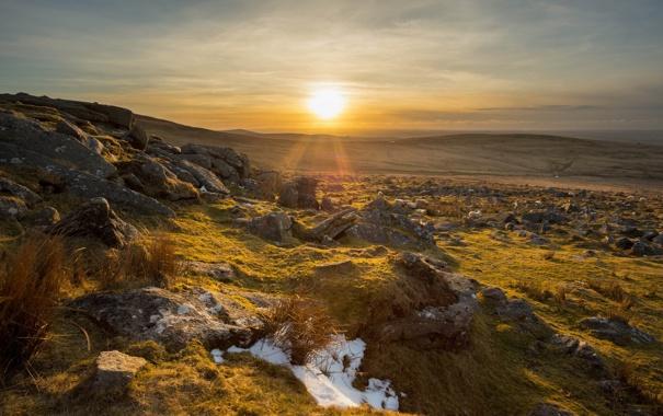 Фото обои поле, пейзаж, закат