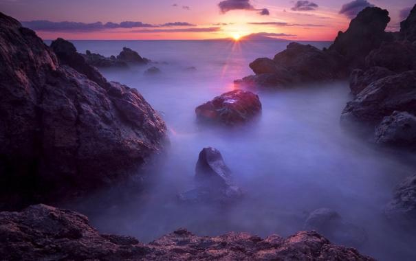 Фото обои море, вода, солнце, облака, пейзаж, закат, туман