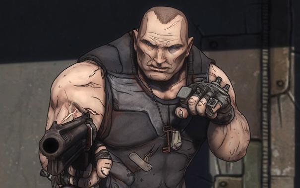 Фото обои револьвер, персонаж, borderlands, shooter, шрамы, brick