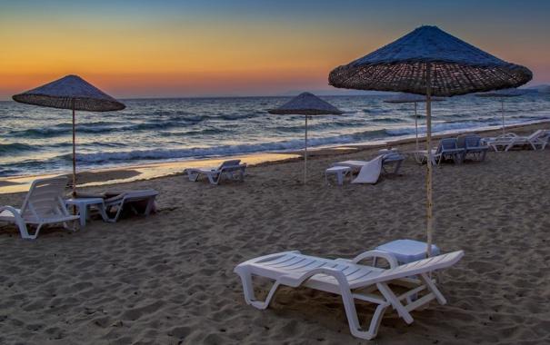 Фото обои закат, пейзаж, пляж, море