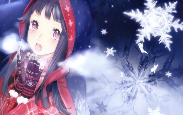 Фото обои холод, зима, снег, снежинки, арт, пар, девочка