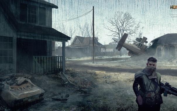 Фото обои машина, война, дома, деревня, солдат, homefront, военный вертолет