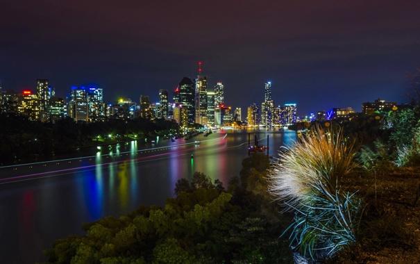 Фото обои ночь, огни, река, берег, дома, Австралия, Melbourne