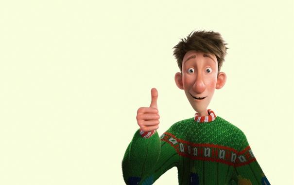 Фото обои мультфильм, зеленый свитор, Секретная служба Санта-Клауса, жест, улыбка, Arthur Christmas, все окей