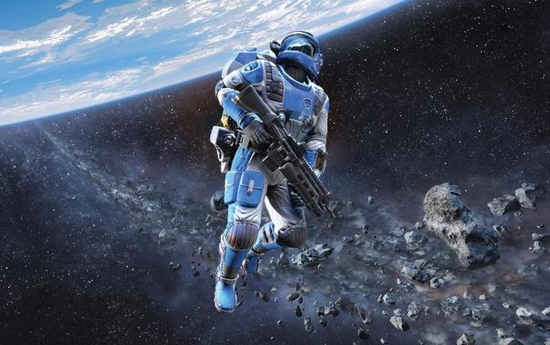 Фото обои космос, планета, скафандр, солдат, пояс, винтовка, Shattered Horizon