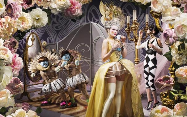 Фото обои цветы, платье, карсет, причёска, принцесса, мода, карлики