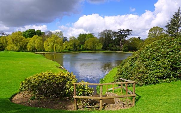 Фото обои природа, пруд, парк, фото, газон, Англия, Leeds Castle