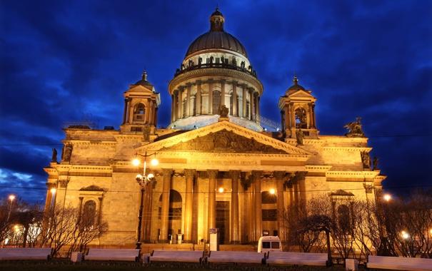 Фото обои православный храм, собор преподобного Исаакия Далматского, небо, ночь, огни, Санкт-Петербург, Исаакиевский Собор