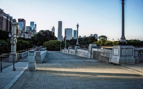 Фото обои город, парк, небоскребы, Чикаго, аллея, Иллиноис