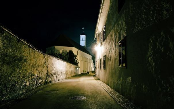Фото обои ночь, город, улица, Austria, Carinthia, Skt Veit