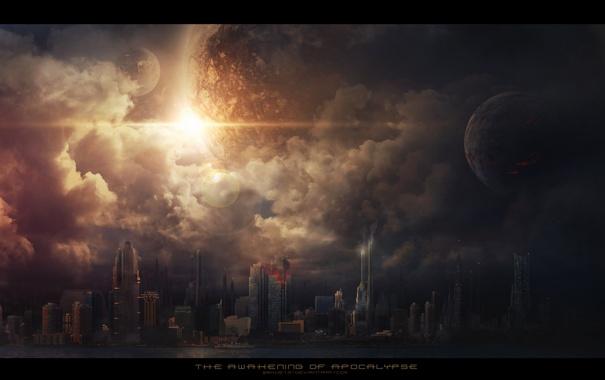 Фото обои город, апокалипсис, планеты