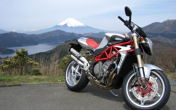 Фото обои озеро, гора, мотоцикл, байк, MV Agusta, мв агуста, фудзияма